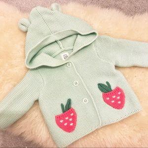 Gap Teddy Bear Hoodie Strawberry Sweater